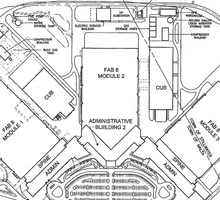 GlobalFoundries submitted this drawing to the town of Malta showing how the new administrative building would fit with a second factory.
