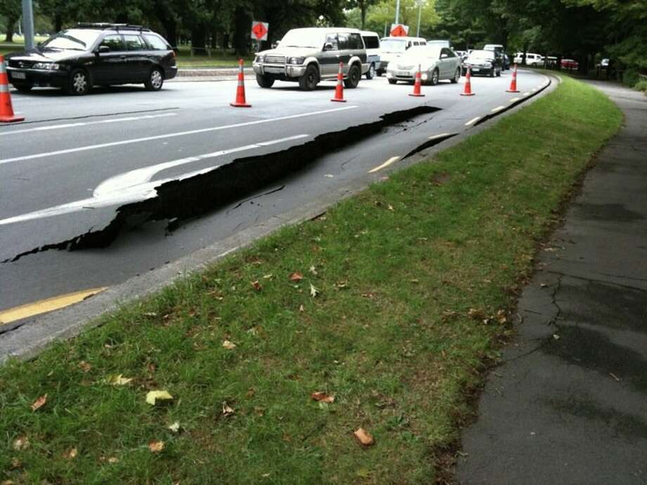 Damage on Christchurch Road, Christchurch, New Zealand. (Courtesy Catherine Shriver)