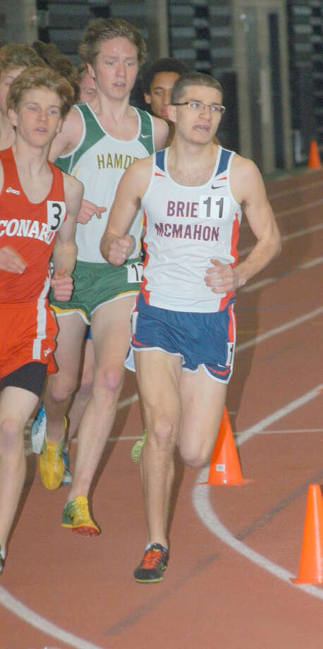 Brien McMahon's Chris Madaffari competes in the 3200-meter race at the State Open last Saturday at the New Haven Athletic Center. Madaffari placed 13th overall with a time of 9:55.72. Photo: Andy Hutchison / Norwalk Citizen