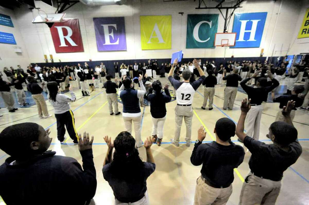 Students and teachers participate in Morning Circle at Amistad Academy Middle School in New Haven, Friday, Feb. 18, 2011.