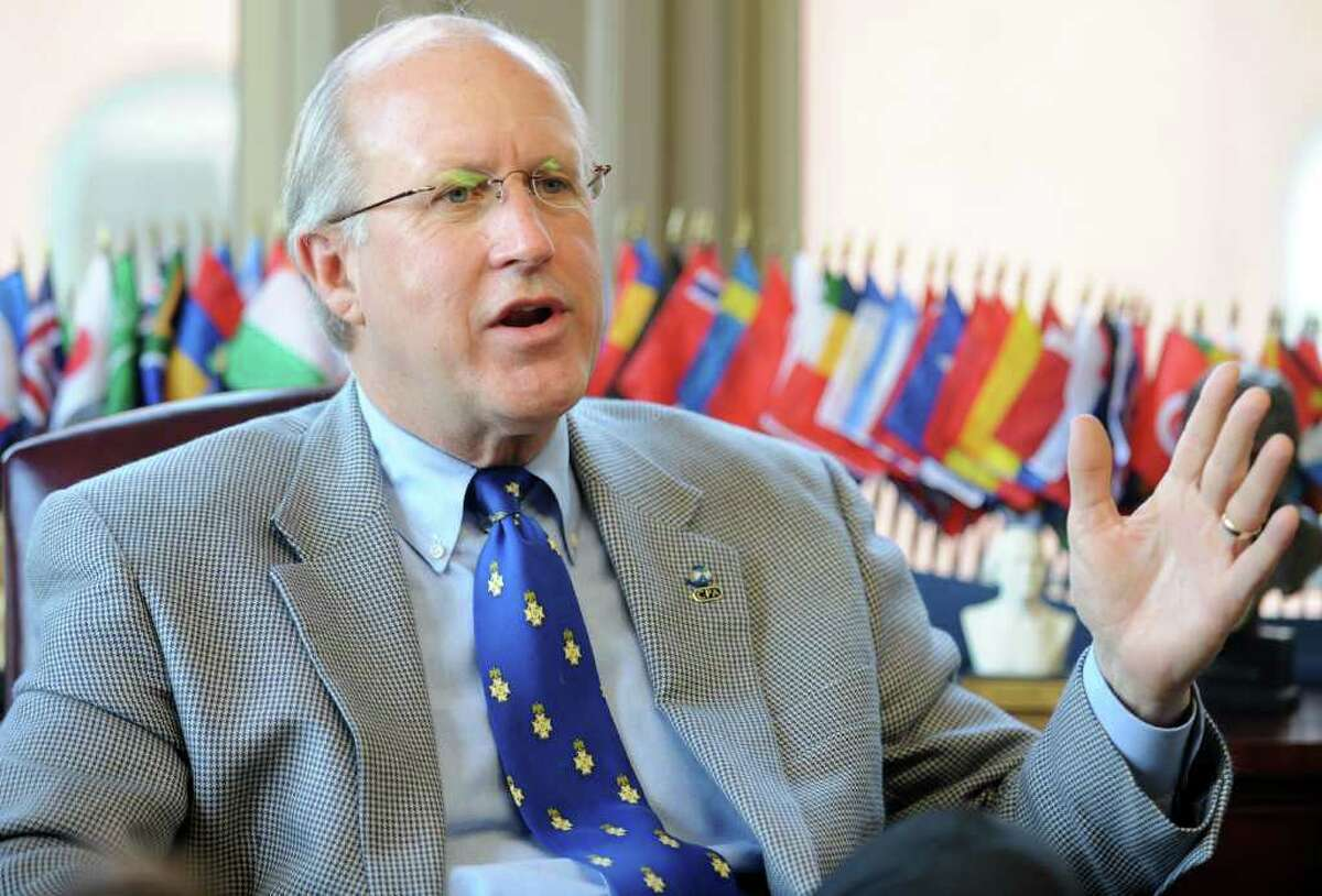 David M. Walker, former U.S. Comptroller General and founder and CEO of the Comeback America Initiative (CAI), talks about his plans for the Bridgeport, Conn. based think tank, CAI, Thursday, Feb. 24, 2011 at his State Street office.