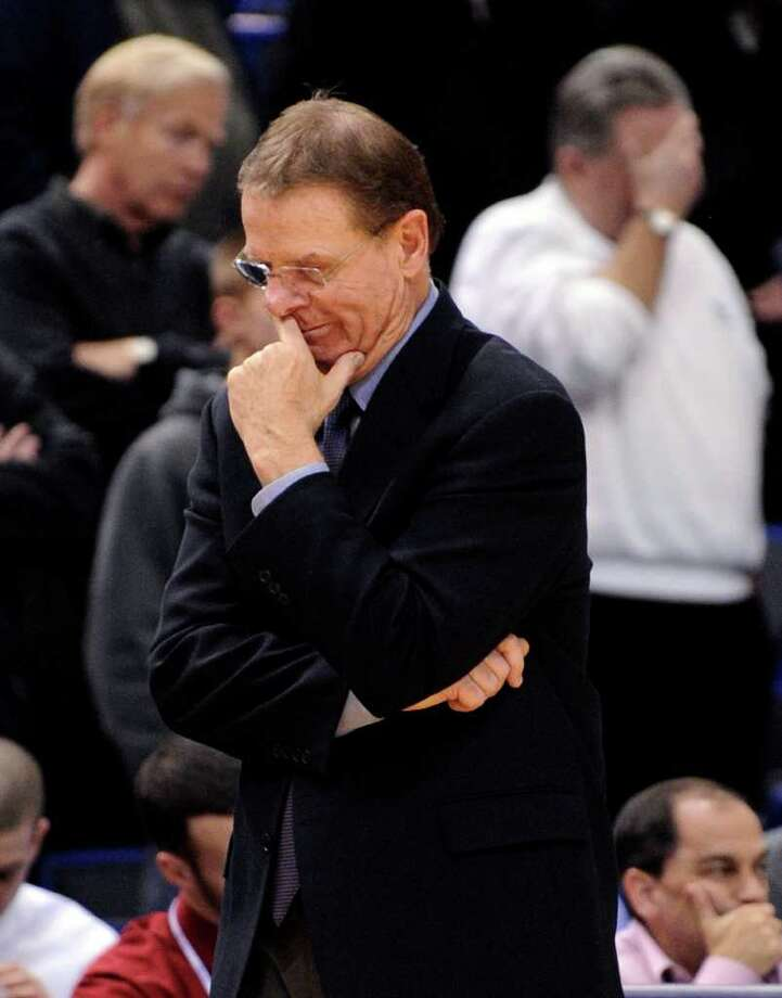 Connecticut associate head coach George Blaney reacts during overtime of his team's 74-67 loss to Marquette in an NCAA college basketball game in Hartford, Conn., on Thursday, Feb. 24, 2011. (AP Photo/Fred Beckham) Photo: AP