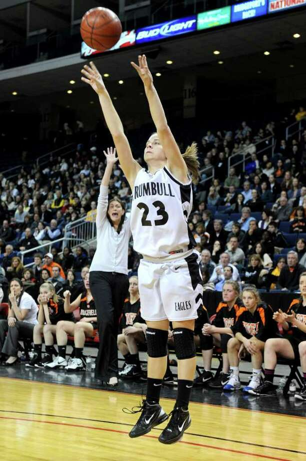 Trumbull's Victoria Pfohl puts up a shot during Thursday's FCIAC girls basketball championship game at Webster Bank Arena at Harbor Yard on February 24, 2011. Photo: Lindsay Niegelberg / Connecticut Post