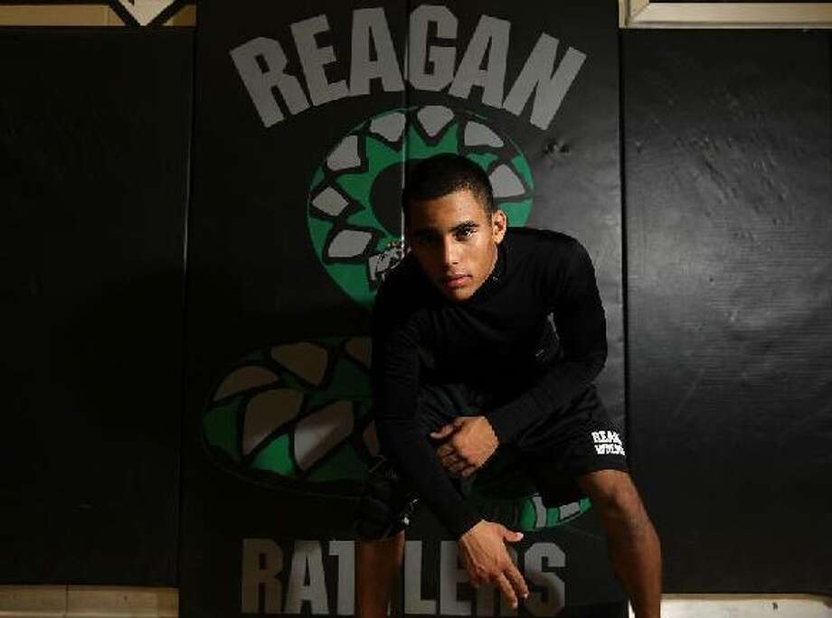 Reagan's Greg Sanders will make his third trip to the state wrestling meet and has his sights set on his first state championship. He's one of the favorites at 135 pounds. JENNIFER WHITNEY/SPECIAL TO THE EXPRESS-NEWS