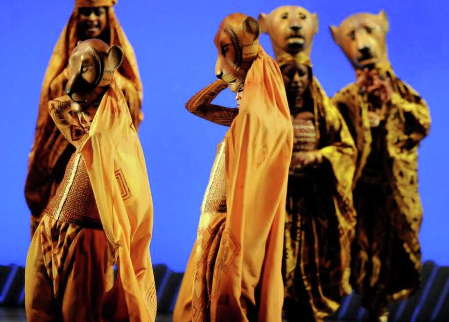 "A cast performs in the Lioness Hunt during ""The Lion King"" on Thursday, Feb. 24, 2011, at Proctors Theatre in Schenectady, N.Y. (Cindy Schultz / Times Union) Photo: Cindy Schultz"