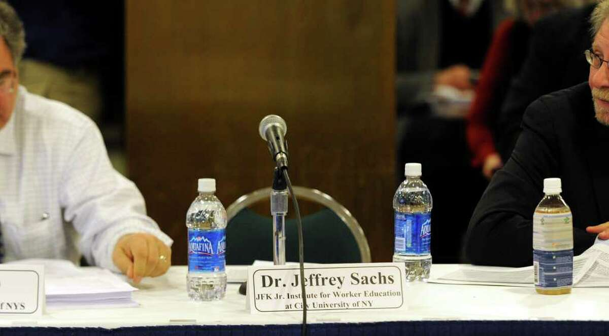 Missing from the during the open meeting of thee Medicaid Redesign Team panel today was Dr. Jeffrey Sachs at the Empire State Plaza in Albany, New York February 24, 2011. (Skip Dickstein / Times Union)
