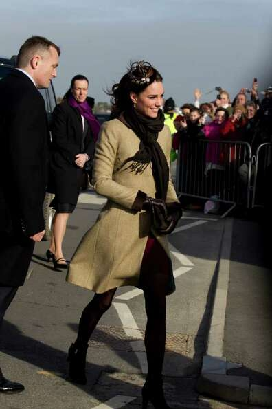 Kate Middleton, fiancee to Britain's Prince William, is seen as they visit Trearddur Bay Lifeboat St
