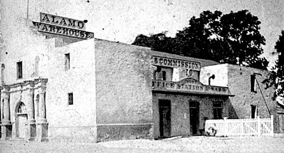 French merchant Honore Grenet purchased some of the Alamo property in June 1877 and used the chapel as a warehouse. (DeGolyer Library, Southern Methodist University)
