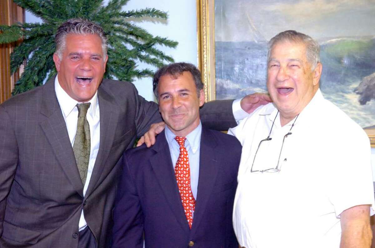 From left, Rick Novakowski with supporters Republican State Rep Fred Camillo and retiring tax collector Lou Caravella at the Mianus Boat and Yacht Club on Strickland Road where Novakowski awaited returns for the Democratic Primary for the Tax Collector position Tuesday evening, Sept. 15, 2009. His opponent, Bill Grad, won with ease.