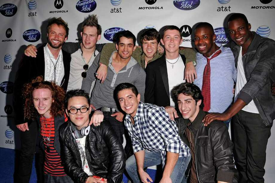 "HOLLYWOOD, CA - FEBRUARY 24:  (Clockwise, from top left) ""American Idol"" 2011 contestants Paul McDonald, James Durbin, Jovany Barreto, Timothy Halperin, Scotty McCreery, Jacob Lusk, Jordan Dorsey, Robbie Rosen, Stefano Langone, Clint Gamboa and Brett Loewenstern arrive at Idol Prom: The ""American Idol"" Season Ten Top 24 Debut event at the Roosevelt Hotel on February 24, 2011 in Hollywood, California.  (Photo by Michael Tullberg/Getty Images) *** Local Caption *** Paul McDonald;Jacob Lusk;James Durbin;Robbie Rosen Photo: Michael Tullberg, Getty Images / 2011 Michael Tullberg"