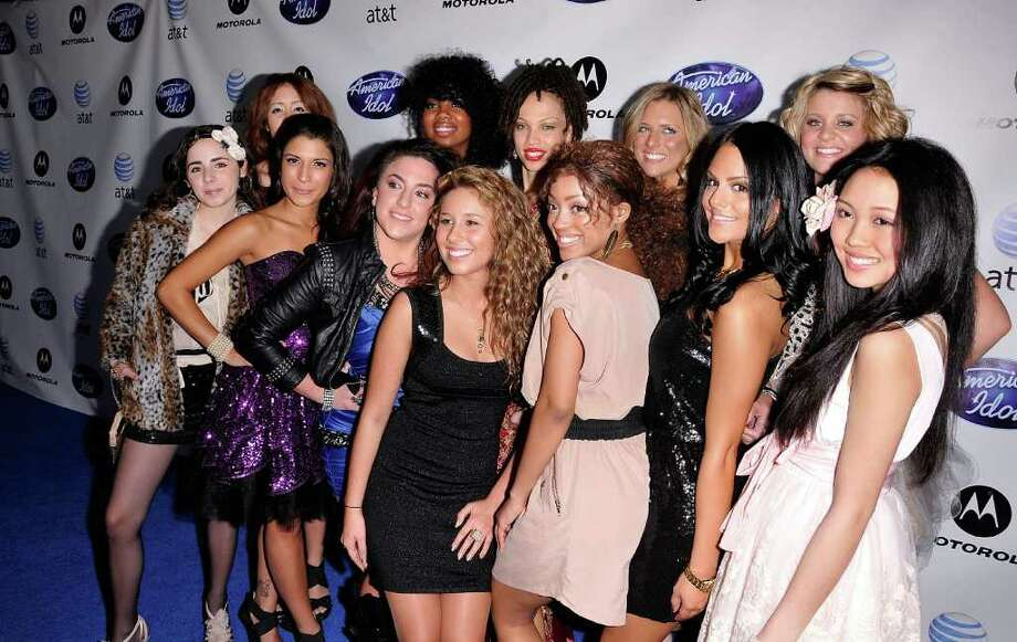"HOLLYWOOD, CA - FEBRUARY 24:  (Clockwise, from left) ""American Idol"" 2011 contestants Rachel Zevita, Karen Rodriguez, Tatynisa Wilson, Naima Adedapo, Kendra Campbell, Lauren Alaina, Thia Megia, Pia Toscano, Ashthon Jones, Haley Reinhart, Lauren Turner and Juliana Zorilla arrive at Idol Prom: The ""American Idol"" Season Ten Top 24 Debut event at the Roosevelt Hotel on February 24, 2011 in Hollywood, California.  (Photo by Michael Tullberg/Getty Images) *** Local Caption *** Haley Reinhart;Lauren Alaina;Kendra Campbell;Karen Rodriguez Photo: Michael Tullberg, Getty Images / 2011 Michael Tullberg"
