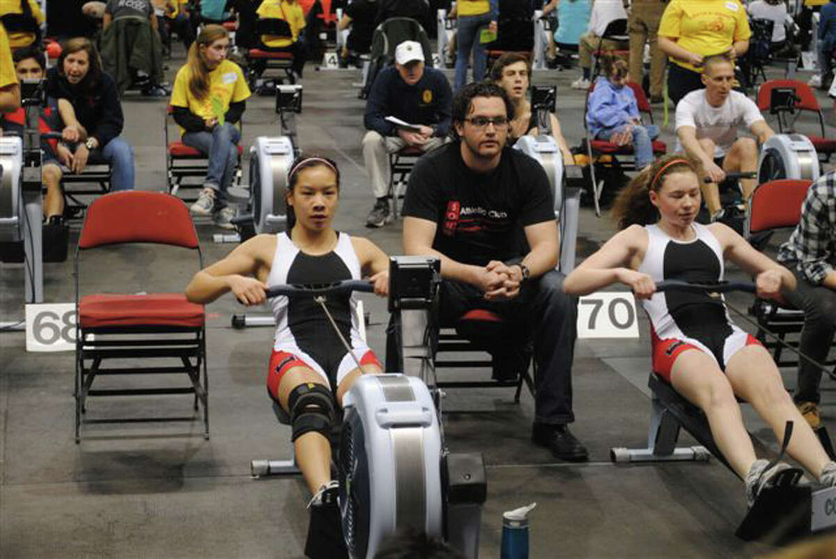 Mary-Beth Greer, left, and Jenna Lee, both of the SoNo rowing team, compete in last weekend's C.R.A.S.H. B sprints in Boston.