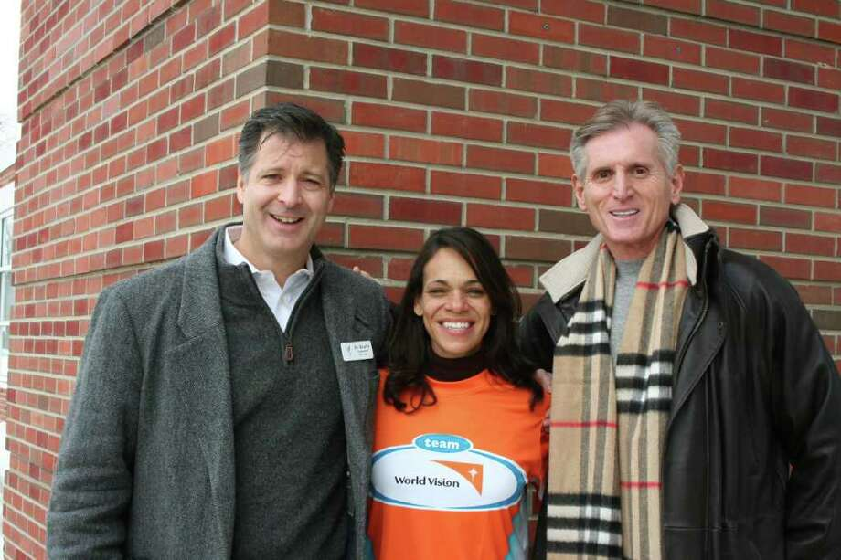 A few members of Team Grace who will cover miles for a cause on April 2 are, from left, Bo Beatty, Rocio Fields and Lew Bakes. Photo: Contributed Photo / New Canaan News