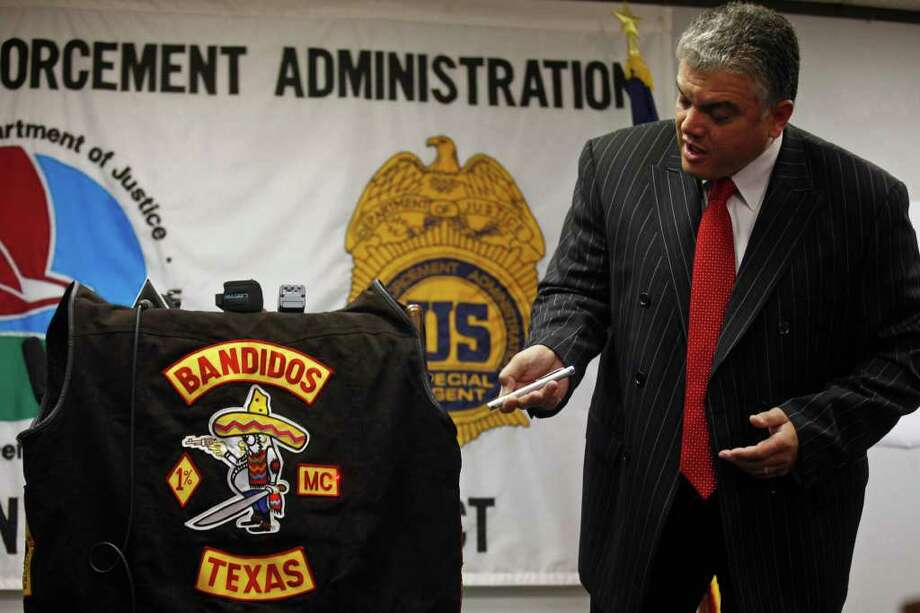 Mauricio Fernandez, Head of the DEA San Antonio District, leads a press conference about a recent roundup of Bandidos in the San Antonio area on Feb. 25. Photo: LISA KRANTZ / SAN ANTONIO EXPRESS-NEWS