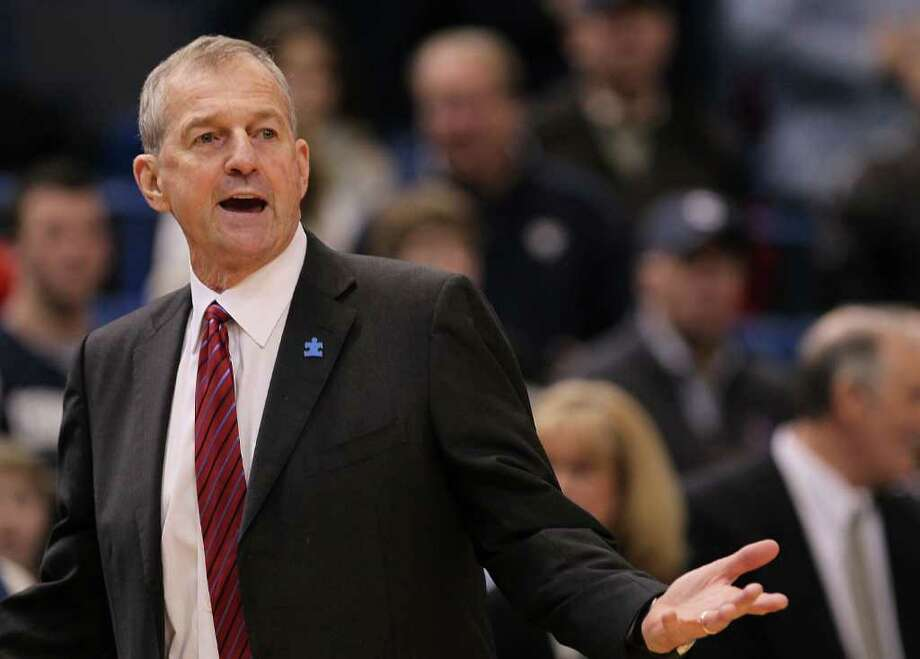 HARTFORD, CT - FEBRUARY 13: Coach Jim Calhoun of the Connecticut Huskies reacts during a game against the Cincinnati Bearcats at the XL Center on February 13, 2010 in Hartford, Connecticut. (Photo by Jim Rogash/Getty Images) *** Local Caption *** Jim Calhoun Photo: Jim Rogash, Getty Images / 2010 Getty Images
