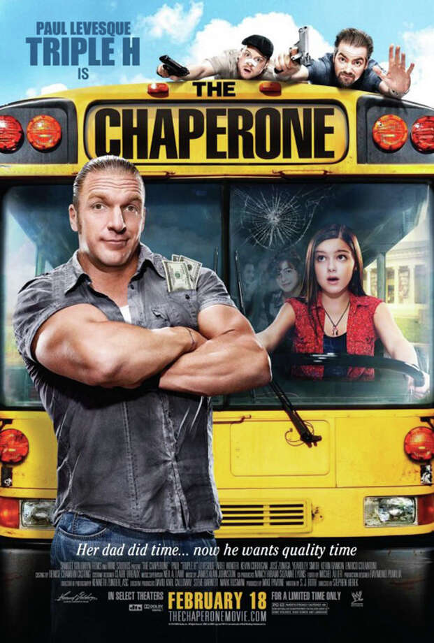 "A poster of ""The Chaperone,"" a WWE Studios film starring former WWE heavyweight champion Triple H. There will be a free screening of the movie at the Fairfield Public Library on Friday, March 4, with the opportunity for some to see their review appear on the WWE's Web site. Photo: Contributed Photo / Fairfield Citizen contributed"