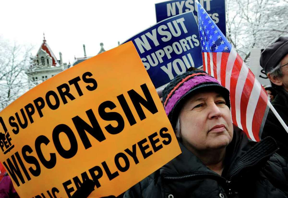 Mary Sherwood of West Sand Lake, a non-union nurse, joins unions and progressive groups as they stand in solidarity with the working people of Wisconsin on Saturday, Feb. 26, 2011, at the State Capitol in Albany, N.Y. (Cindy Schultz / Times Union)