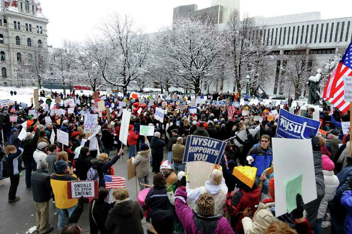 Unions and progressive groups gather on the West Capitol lawn as they stand in solidarity with the working people of Wisconsin on Saturday, Feb. 26, 2011, at the State Capitol in Albany, N.Y. (Cindy Schultz / Times Union)