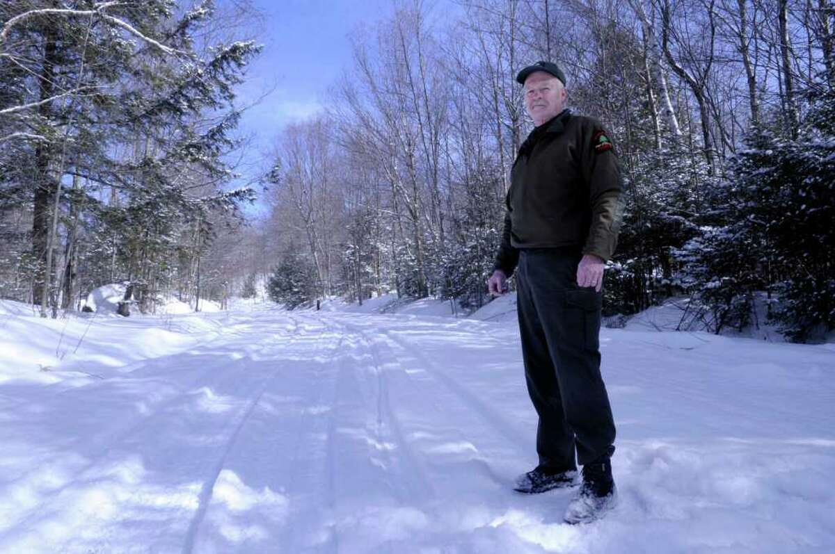 DEC Ranger Tom Eakin at the start of Fly creek Rd., a logging road that is also a snowmobile trail in the town of Speculator on Monday, Feb. 21, 2011 (Paul Buckowski / Times Union)