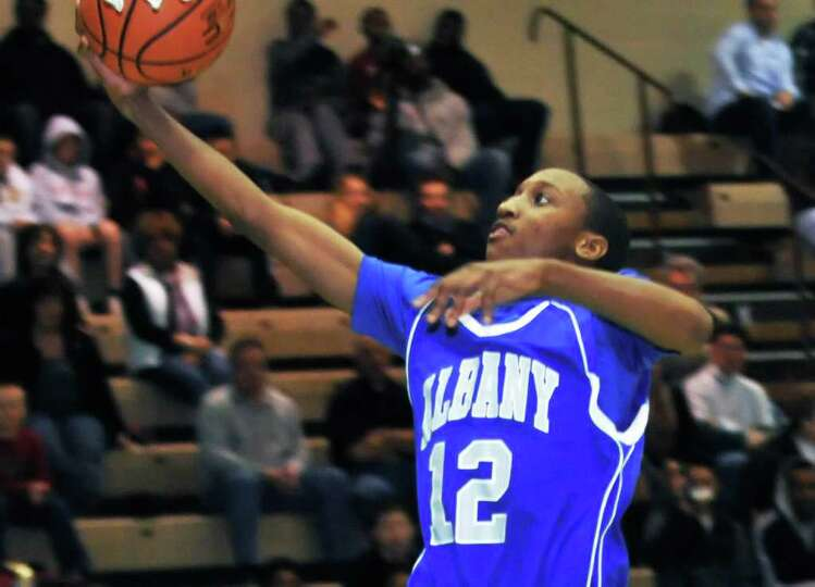 Albany High's #12 Amari Gaddy  during Saturday afternoon's Class AA quarterfinal four-game against