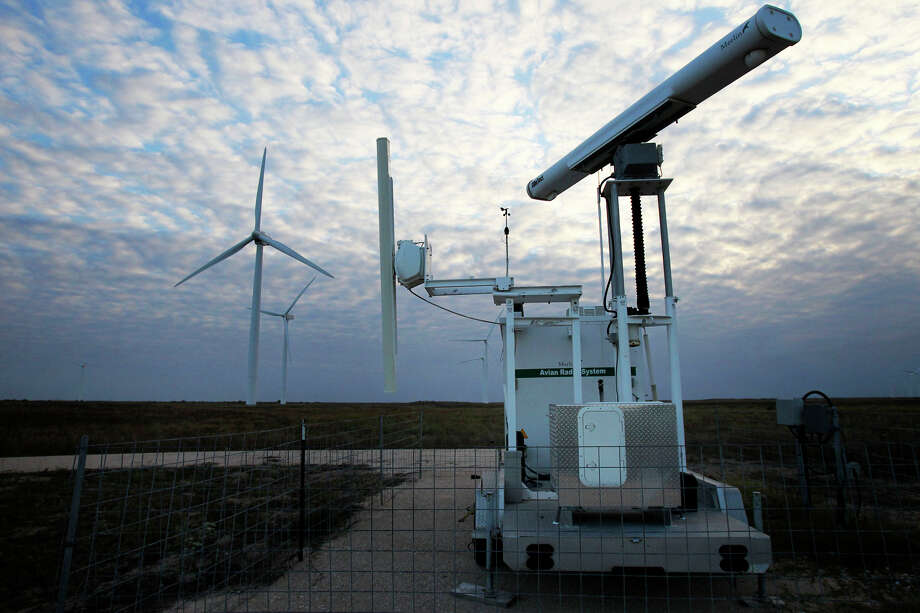 "The Gulf Wind energy project near Sarita is using the Merlin Avian Radar system in an effort to protect the area's bats and migratory birds. Gulf Wind says the system can detect approaching birds and activate ""mitigation responses including the idling of turbines."" Photo: JOHN DAVENPORT/jdavenport@express-news.net"
