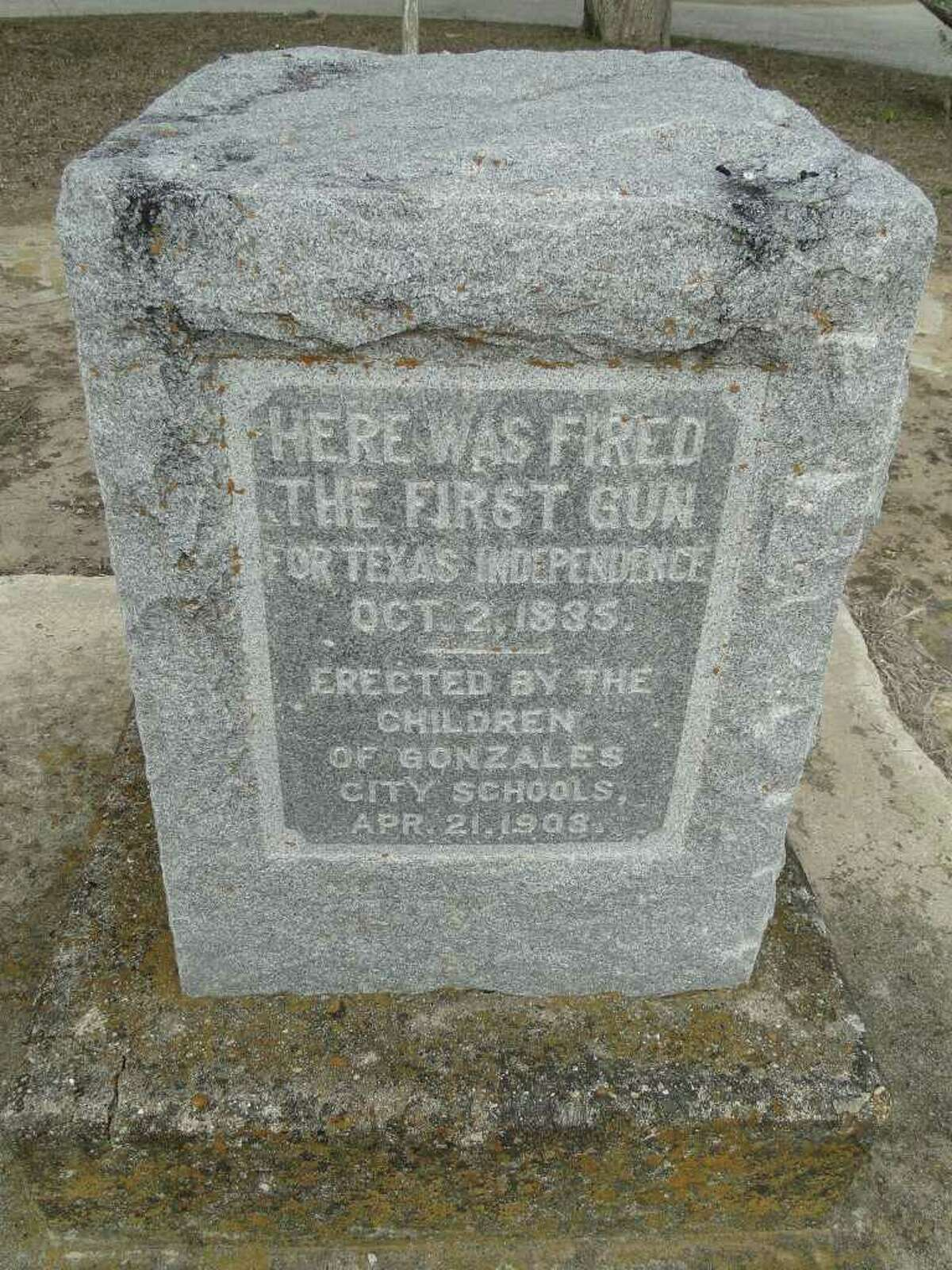 A granite marker stands at the sight on the Guadalupe River in Cost where Texian soldiers fired the Come and Take It cannon at Mexican soldiers on Oct. 2, 1835. It was the first shot in the Texas Revolution.