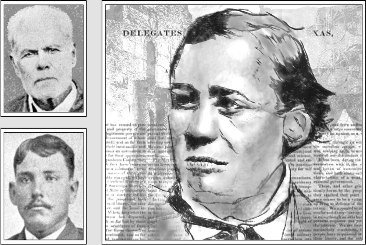 Gregorio Esparza (right) was one of the Tejano defenders of the Alamo who perished during the battle against the Mexican army. His sons, including Enrique (top left) and Manuel (bottom left) witnessed the battle as children.