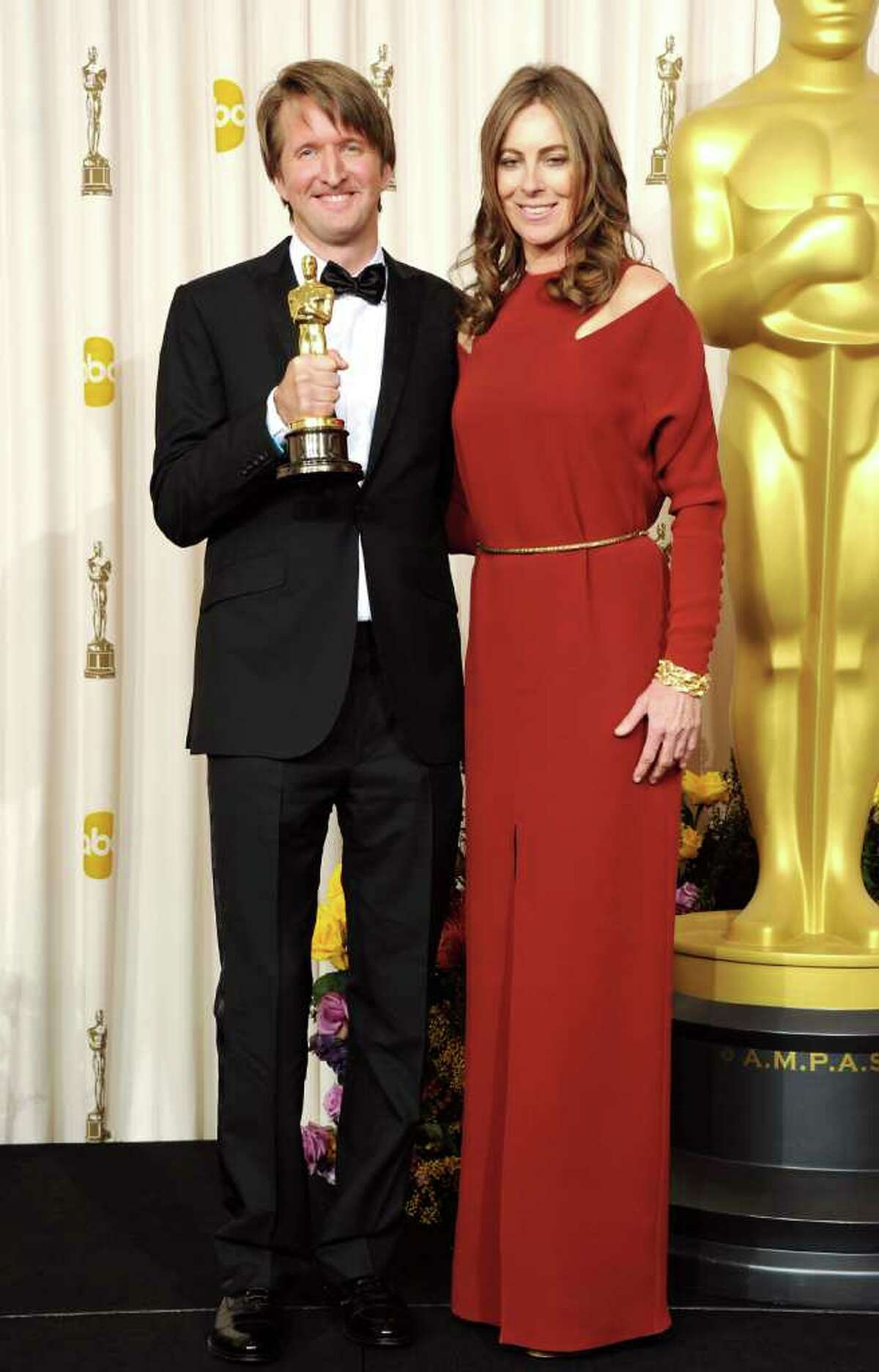 HOLLYWOOD, CA - FEBRUARY 27: Director Tom Hooper (L), winner of the award for Best Achievement in Directing for 'The King's Speech', and presenter Kathryn Bigelow pose in the press room during the 83rd Annual Academy Awards held at the Kodak Theatre on February 27, 2011 in Hollywood, California. (Photo by Jason Merritt/Getty Images) *** Local Caption *** Tom Hooper;Kathryn Bigelow