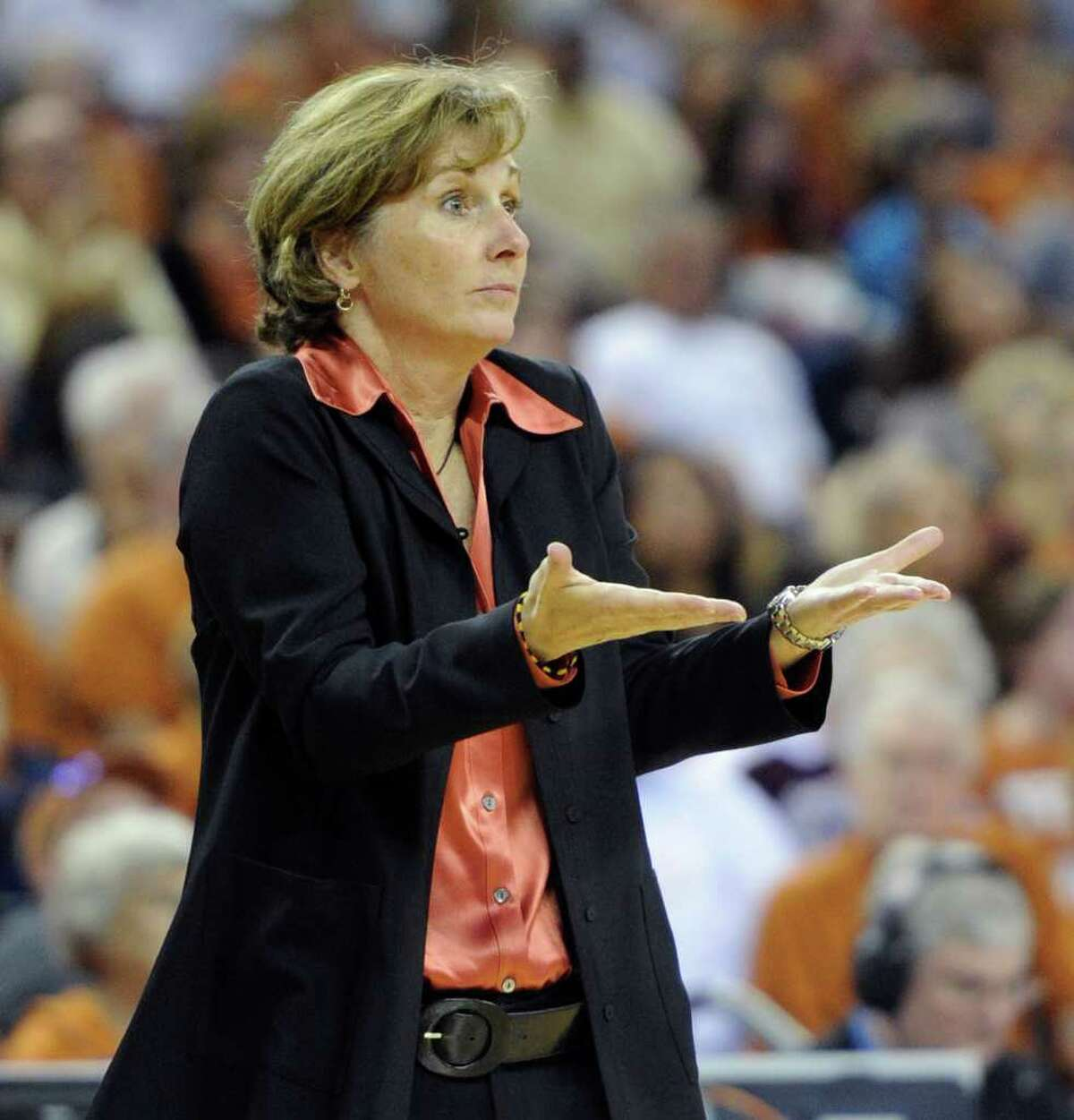 Texas women's basketball coach Gail Goestenkors reacts to a call favoring Texas A&M during the second half of an NCAA college basketball game Sunday, Feb. 27, 2011, in Austin, Texas. Texas A&M won 68-65.
