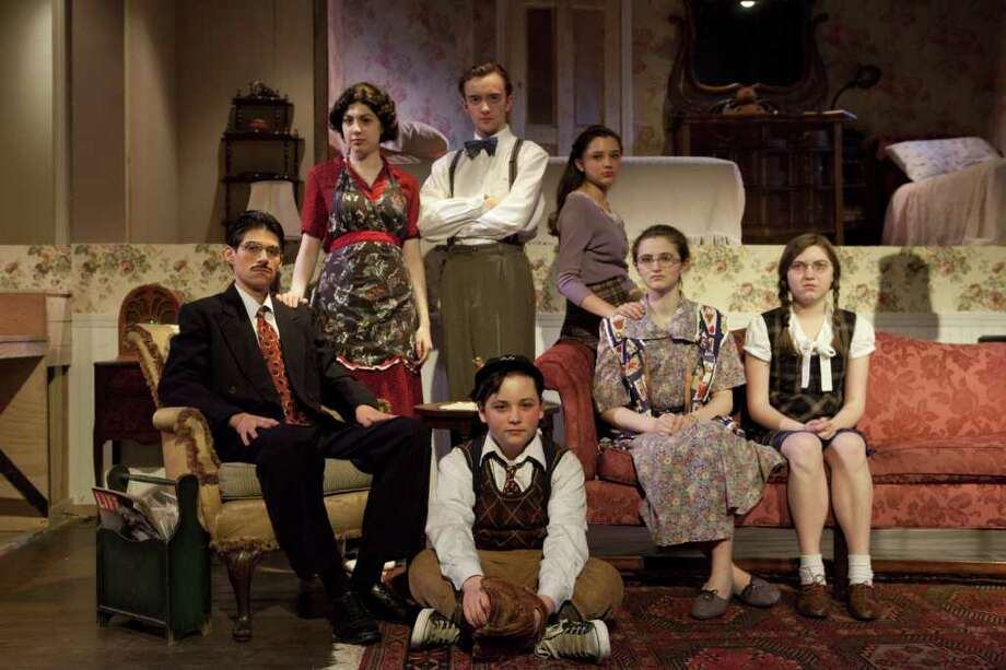 The cast of Brighton Beach Memoirs, from left, are:  Max Samuels '11 as Jack Jerome; Eva Hendricks '11 as Kate Jerome;  Matt Van Gessel '11 as Stanley Jerome; Sofia Ribolla '12 as Nora Morton; Allison Manning '11 as Blanche Morton; Emily Ressler '14 as Laurie Morton and seated is Ryan Shea '13 as Eugene Jerome. Photo: Contributed Photo / Westport News