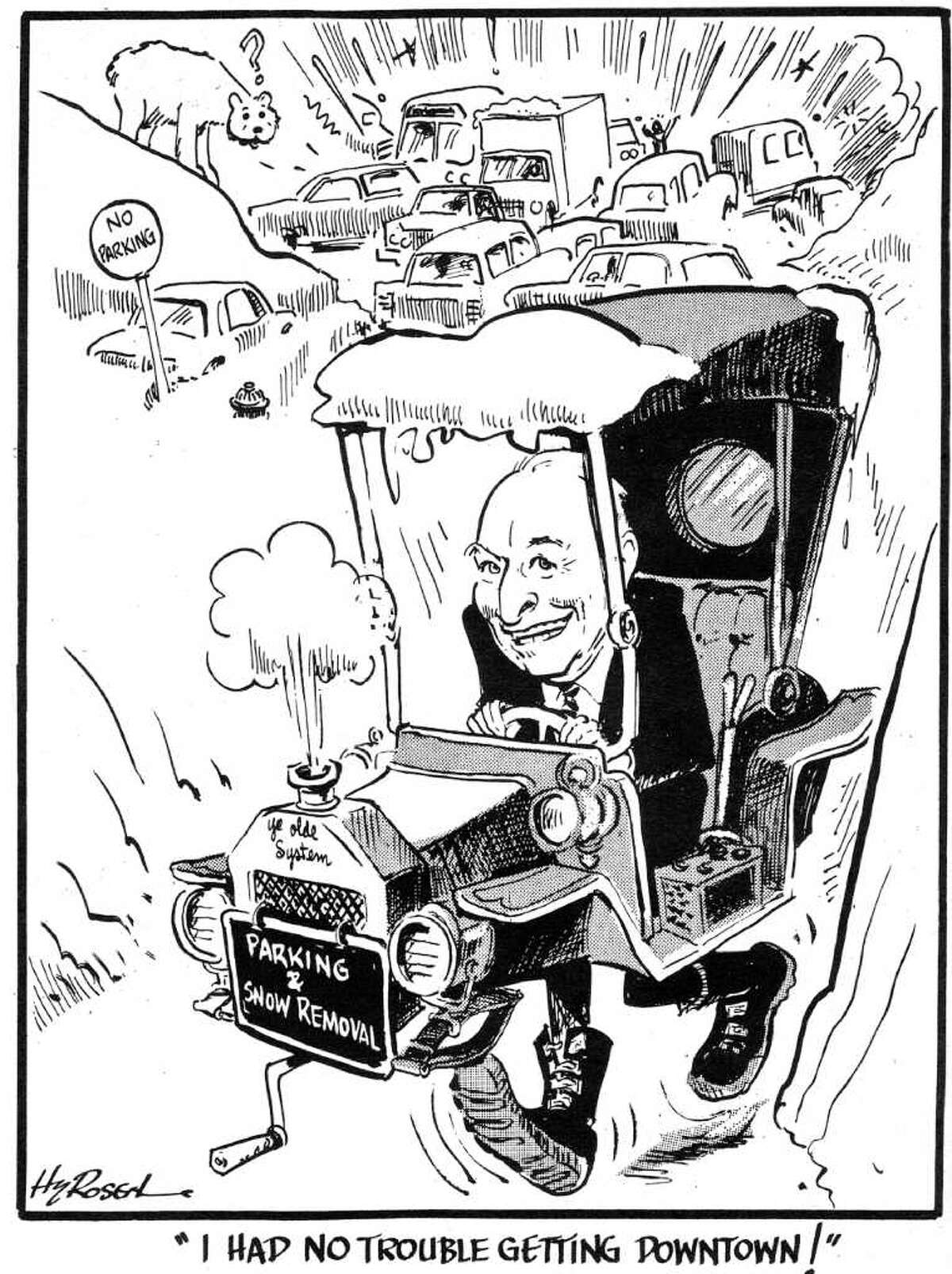 Editorial cartoon by Hy Rosen. June 1, 1983, following the death a few days earlier of Albany Mayor Erastus Corning 2nd.