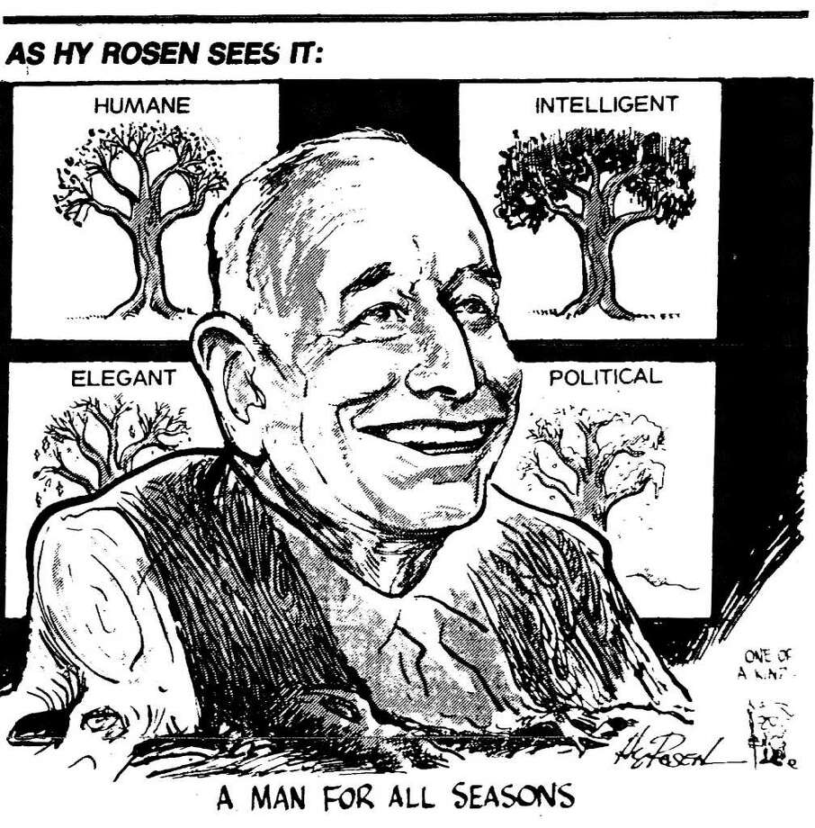Editorial cartoon by Hy Rosen.  June 1, 1983 praises the late Erastus Corning 2nd, who died a few days earlier. Rosen died Feb. 25, 2011 at his home in Loudonville, NY. His cartoonist career at the Times Union spanned five decades. Death of Erastus Corning.
