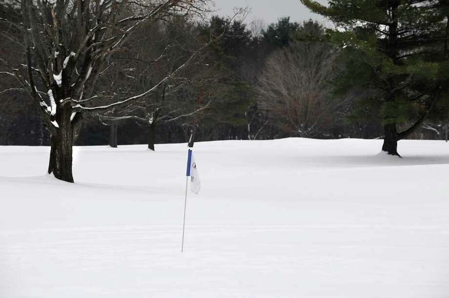 A flag pole stands at Normanside Country Club in Delmar, NY on January 26, 2011.  (Lori Van Buren / Times Union) Photo: Lori Van Buren