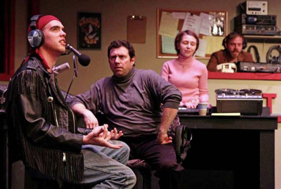 "Maxwell Alexander as Kent, Bob Lussier, Marilyn Hart, and James Hipp as Stu Noonan in a scene from ""Talk Radio,"" at TheatreWorks New Milford. The show runs through March 19. Photo: Contributed Photo / The News-Times Contributed"