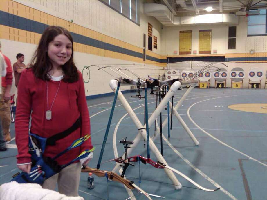 Coleytown Middle School sixth grader Miranda Wright, 11, won her division last weekend at the 42nd U.S. National Indoor Championship and the JOAD (Junior Olympic Archery Development) National Indoor Championship at Andover, MA. Photo: Contributed Photo