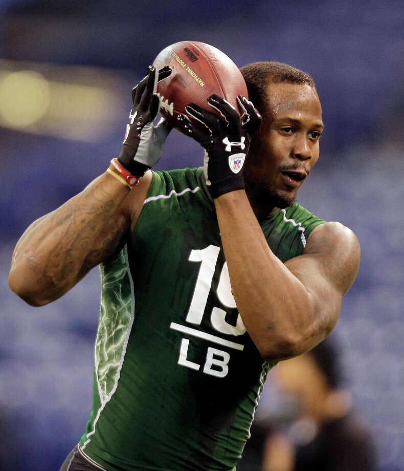 Texas A&M linebacker Von Miller makes a catch at the NFL Scouting Combine in Indianapolis on Monday. Photo: Michael Conroy/Associated Press