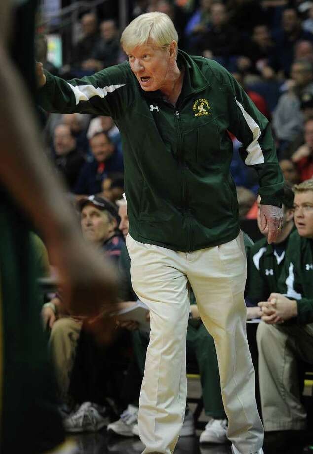 Trinity Catholic boys basketball head coach Mike Walsh during their FCIAC semi-final matchup with Bassick at the Webster Bank Arena at Harbor Yard in Bridgeport on Monday, February 28, 2011. Photo: Brian A. Pounds / Connecticut Post