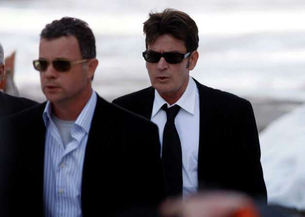 Charlie Sheen arrives at the Pitkin County Courthouse in Aspen, Colo., on Monday, Feb. 8, 2010. Charlie Sheen appeared in court to face allegations of domestic violence stemming from his arrest on Christmas Day 2009 for an alleged attack on his wife. Photo: AP