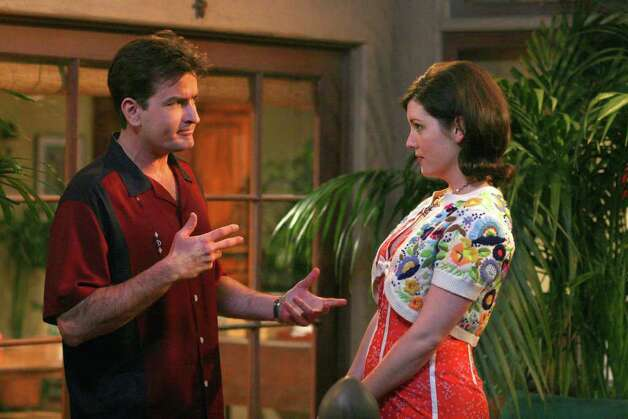"""That Pistol-Packin' Hermaphrodite"" -- Charlie (Charlie Sheen, left) talks to Rose (Melanie Lynskey, right) on TWO AND A HALF MEN, Mondays (9:00-9:30 PM, ET/PT) on the CBS Television Network. Photo: Monty Brinton / CBS ©2006 CBS Broadcasting Inc.  All Rights Reserved. copyright: PROD.# 2T6523 Photo: MONTY BRINTON, CBS / ©2006 CBS BROADCASTING INC.  ALL RIGHTS RESERVED."