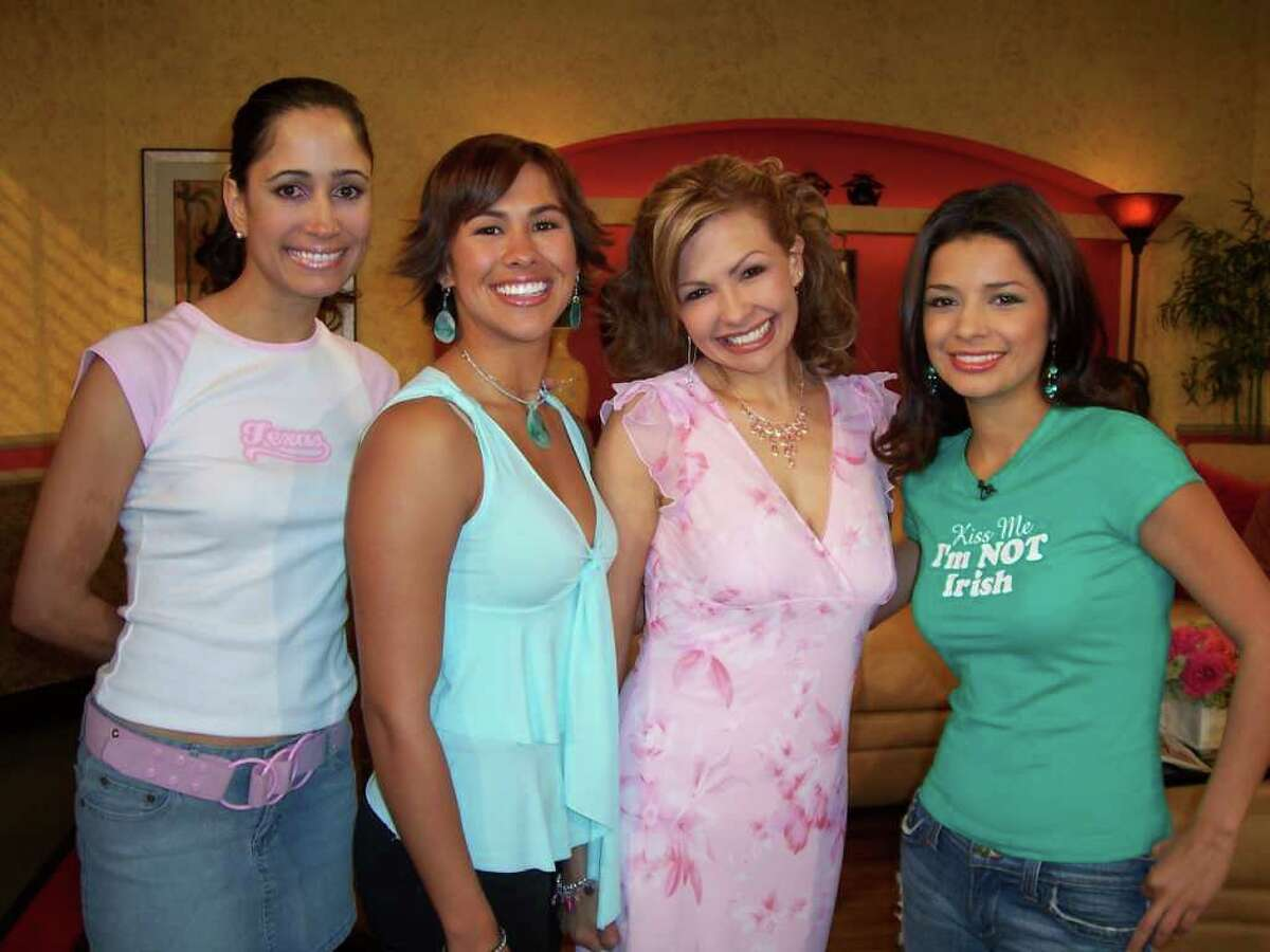 CONEXION -- Conexion's Hottest Latina finalists Rita Verros Kennedy, winner Samantha Garcia, Faleana Gonzalez and 'Great Day SA' host Kristina Guerrero after the taping of the show March 17, 2005.