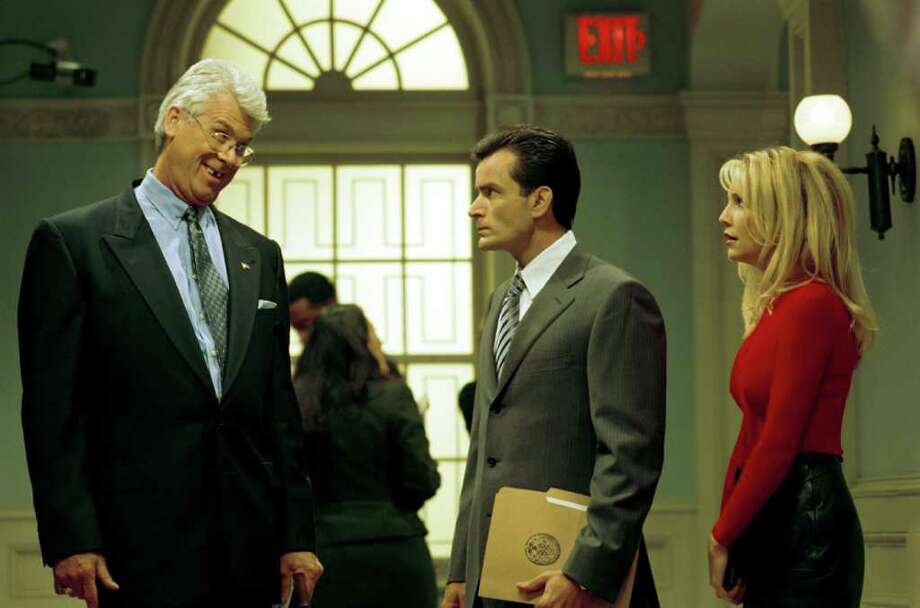 "Actor Charlie Sheen And The Cast Of The Popular Ensemble Comedy Series, ""Spin City,"" Which Aired On The Abc Television Network. Pictured (L-R) Barry Bostwick, Charlie Sheen And Heather Locklear. Photo: Getty Images / Getty Images North America"
