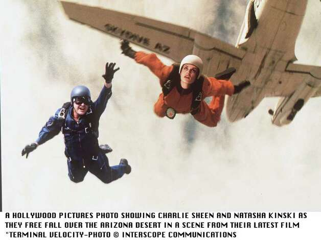 "In A Scene From The Hollywood Pictures Latest Film.""Terminal Velocity""Charlie Sheen And Natasha Kinki Free Fall Over The Arizona Desert Photo: Getty Images / Getty Images North America"
