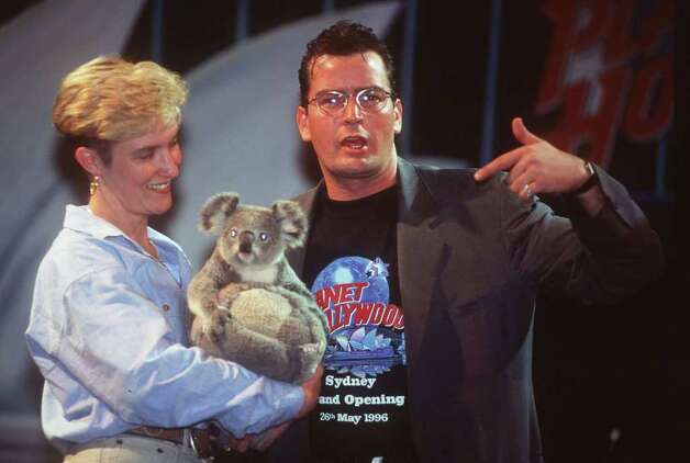 SYDNEY - MAY 26:  American actor Charlie Sheen patting a koala at the official opening to the public of Planet Hollywood in Sydney. (Photo by Patrick Riviere/Getty Images). *** Local Caption *** Charlie Sheen Photo: Patrick Riviere, Getty Images / 1996 Getty Images