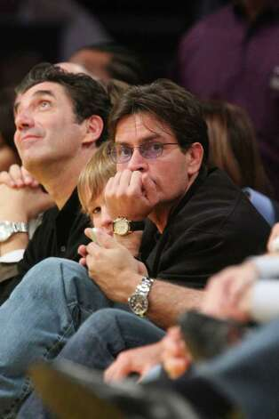 LOS ANGELES, CA - OCTOBER 30:  Actors Charlie Sheen (R) attends the LA Lakers Home Opener at the Staples Center on October 30, 2007 in Los Angeles, California.  (Photo by Noel Vasquez/Getty Images) *** Local Caption *** Charlie Sheen Photo: Noel Vasquez, Getty Images / 2007 Getty Images