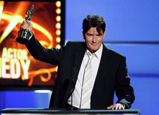 PASADENA, CA - AUGUST 17:  Actor Charlie Sheen accepts the Outstanding Male Performance in a Comedy Series award onstage during the 2008 ALMA Awards at the Pasadena Civic Auditorium on August 17, 2008 in Pasadena, California. Photo: Vince Bucci, Getty Images / 2008 Getty Images