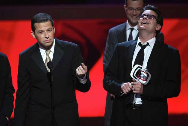"UNIVERSAL CITY, CA - APRIL 19:  Actors (L-R) Jon Cryer and Charlie Sheen accept the Future Classic Award for ""Two and a Half Men"" onstageonstage at the 7th Annual TV Land Awards held at Gibson Amphitheatre on April 19, 2009 in Unversal City, California.  (Photo by Alberto E. Rodriguez/Getty Images) *** Local Caption *** Jon Cryer;Charlie Sheen Photo: Alberto E. Rodriguez, Getty Images / 2009 Getty Images"