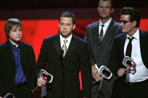 "UNIVERSAL CITY, CA - APRIL 19:  Actors (L-R) Angus T. Jones, Jon Cryer and Charlie Sheen accept the Future Classic Award for ""Two and a Half Men"" onstage at the 7th Annual TV Land Awards held at Gibson Amphitheatre on April 19, 2009 in Unversal City, California.  (Photo by Alberto E. Rodriguez/Getty Images) *** Local Caption *** Jon Cryer;Charlie Sheen;Angus T. Jones Photo: Alberto E. Rodriguez, Getty Images / 2009 Getty Images"