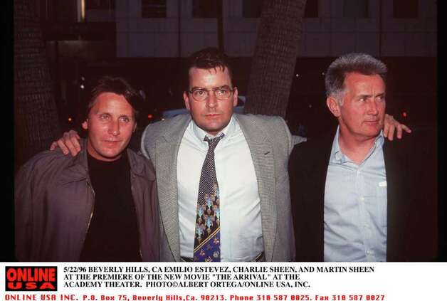 "377424 01: 5/22/96 BEVERLY HILLS, CA Emilio Estavez, Charlie Sheen and Martin Sheen at the premiere Charlie's new movie ""the Arrival"" at the Academy theater. (Photo by  ALBERT ORTEGA ONLINE USA, INC.) Photo: Albert Ortega, Getty Images / Getty Images North America"