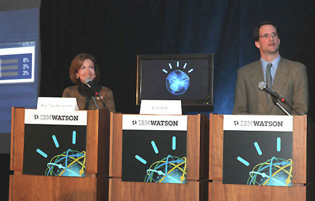 U.S. Rep. Nan Hayworth, R-N.Y., IBM's Watson, Rep. Jim Himes, D-Conn., and Rep. Nan Hayworth, R-N.Y. Photo: Contributed Photo / Stamford Advocate Contributed