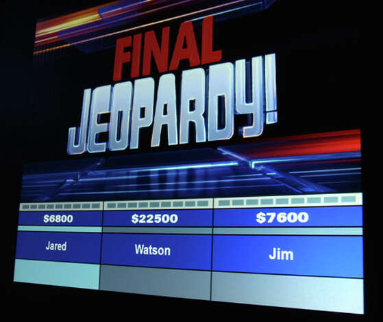 "The scoreboard in the Monday night ""Jeopardy"" match between Watson and members of Congress. Photo: Contributed Photo / Stamford Advocate Contributed"